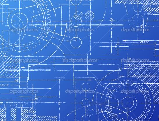Grungy technical blueprint illustration on blue background